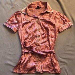 Bebe Silk Printed Button-down Blouse
